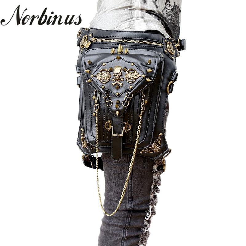 Norbinus Skull Retro Rock Waist Bags Gothic Shoulder Messenger Bags Men Women Leather Waist Fanny Pack