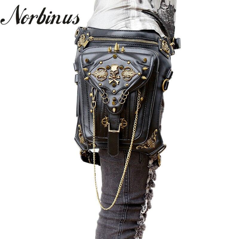 Norbinus Crâne Rétro Rock Taille Sacs Gothique Épaule Messenger Sacs Hommes Femmes En Cuir Taille Fanny Pack Holster de Jambe de Baisse Ceinture sac