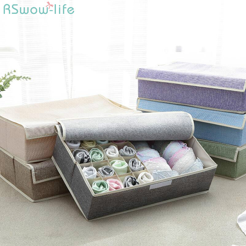 17 Grid Underwear Holder Bra Travel Ser Organizer Cotton And Linen Closet Organizers Boxes Clothes Storage Bag High Capacity Box-in Drawer Organizers from Home & Garden
