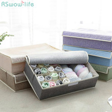 17 Grid Underwear Holder Bra Travel Ser Organizer Cotton And Linen Closet Organizers Boxes Clothes Storage Bag High Capacity Box