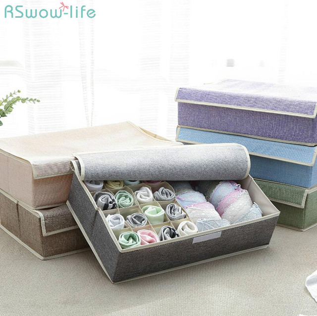17 Grid Underwear Holder Bra Travel Ser Organizer Cotton And Linen Closet Organizers Boxes Clothes Storage Bag High Capacity Box