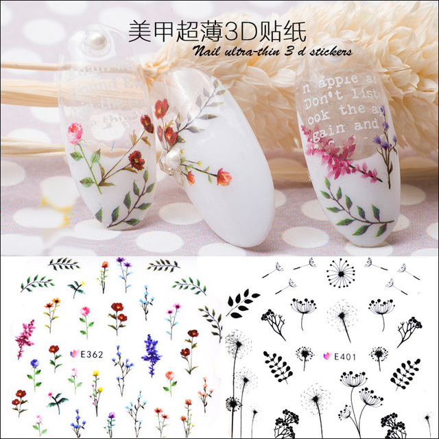 latest Japan decal 10pcs 3D Self adhesive Flower Nail Art Stickers ...