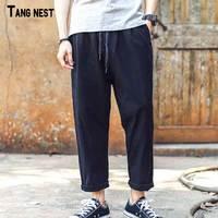 TANGNEST Keten Harem Pantolon Sıcak Yaz Eğlence Nefes Düz Keten Pantolon İpli Eski Rahat Pantolon MKX1332