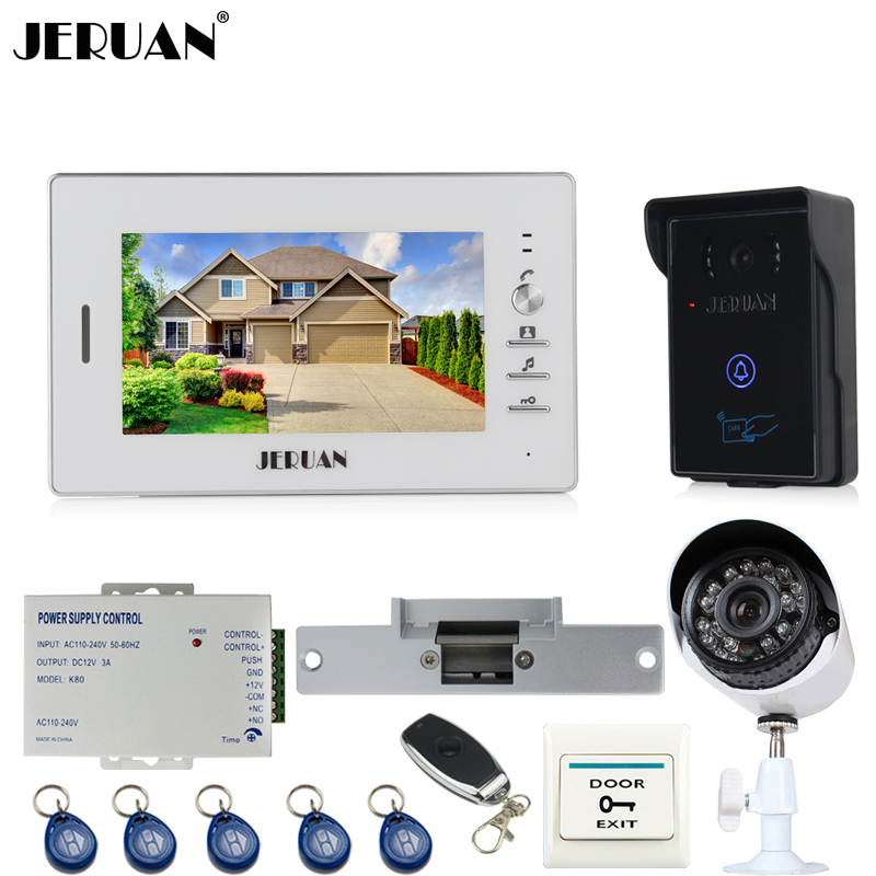 JERUAN Home 7 inch LCD Video Door Phone Intercom System kit waterproof RFID Access Camera + 700TVL Analog Camera +remote control 12 apartments placa de video door phone intercom rfid door access control system with 7 inch lcd display