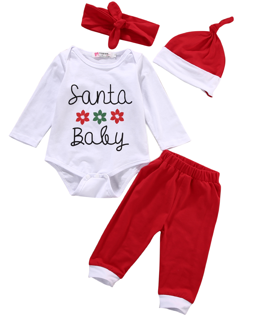 4pcs Christams Hot Newborn Baby Boys Girls Clothes Long Sleeve Letter Romper+Red Pants+Hat=HeadbandBaby Clothes Baby Romper Set
