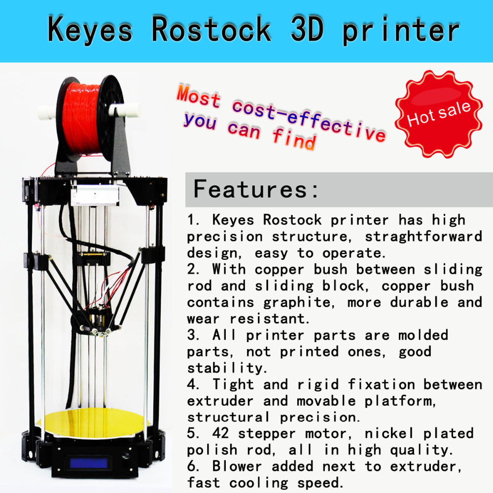 2016 NEW High Quality KEYES DIY 3 D Rostock Printer with PDF DIY Kit for 3