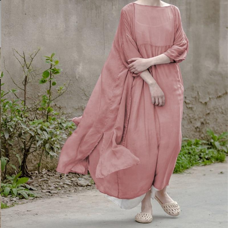 Johnature 2019 Autumn Summer Silk Loose Dress New Arrival Women Soft Comfortable Loose Round Neck Silk