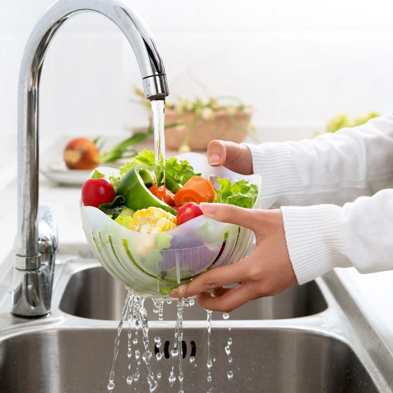 60 Seconds Salad Cutter Bowl Easy Salad Maker Kitchen Tools Fruit Vegetable Fruits Chopper Cutter Quick Kitchen Accessories