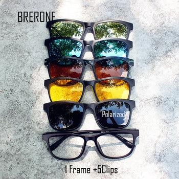BRERONE Ultra-light Polarized Clip On Sunglasses Men Women Magnetic Eyewear Eyeglass Frames TR90 Optical Glasses Frame 2201