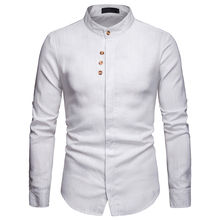 Men Cotton Linen Shirts Slim Fit Casual Stand Collar Long Sleeves Camisas Hombre Tops Brand Clothing EU S-2XL