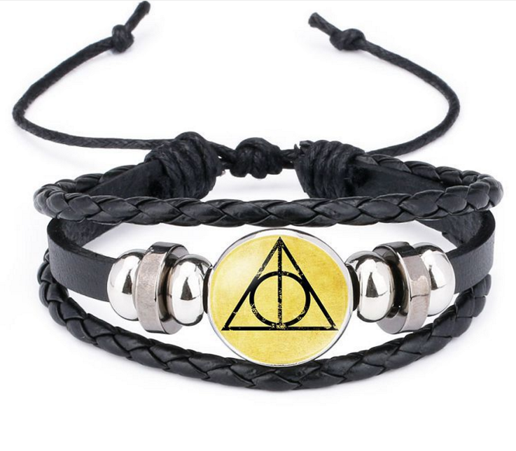 Anime Harri Death Hallows Potter Action Figure Retro Leather Cord Bracelet Golden Snitch Wings Owl Triangle Multilayer Bracelet