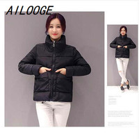 AILOOGE 2017 New Fashion Cotton Padded Parka Sweet Style Ultra Light Winter Jacket Women
