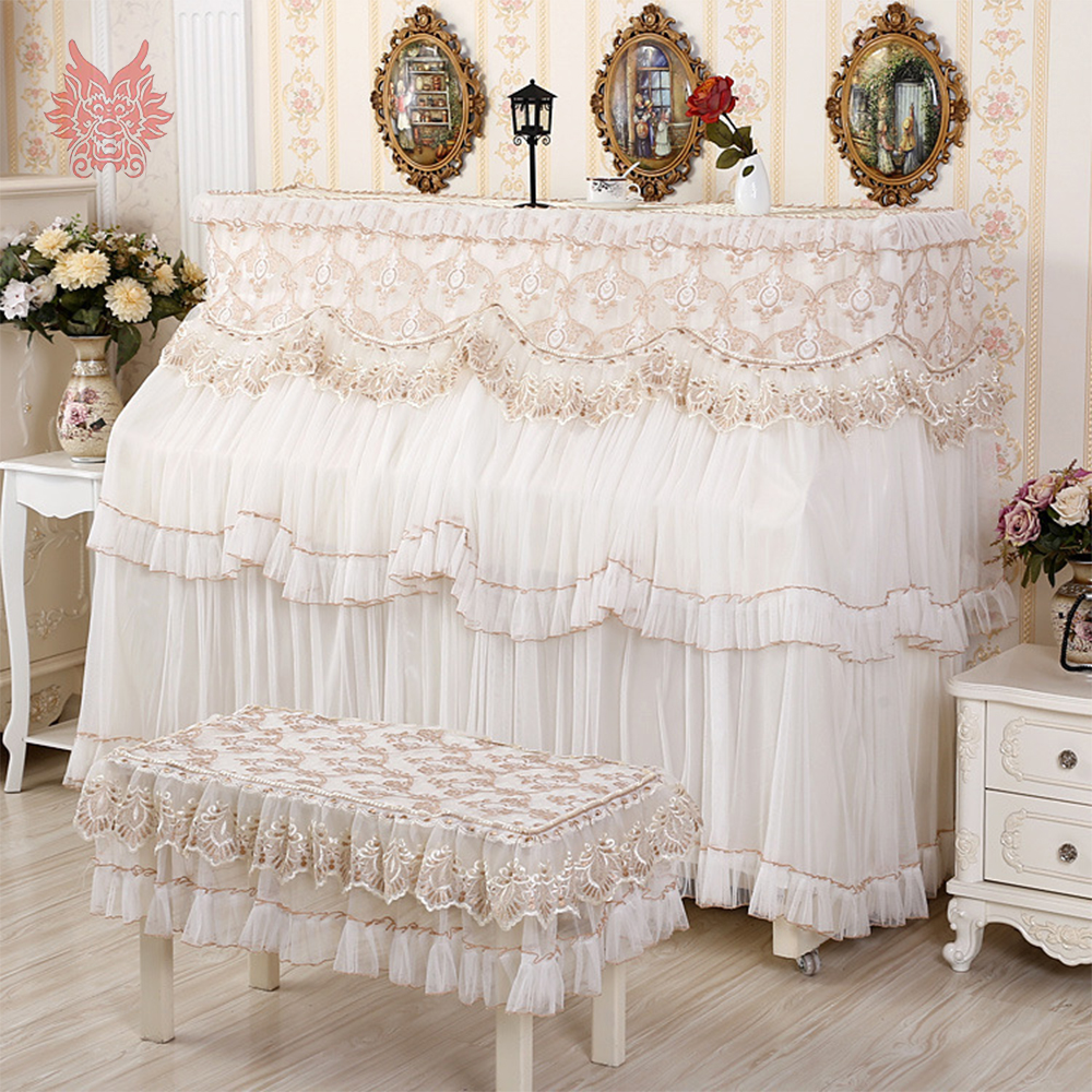 Palace style floral embroidery mesh lace upright piano cover dust proof piano stool cover hosse tabouret cache poussiere SP5277Palace style floral embroidery mesh lace upright piano cover dust proof piano stool cover hosse tabouret cache poussiere SP5277