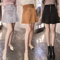 2016 A Linha de Cintura Alta Saia Das Mulheres High Street Mini Faux Leather Suede Inverno Curto saias de cintura alta casual LQ48