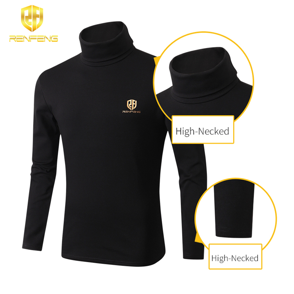 winter underwear for mens undershirts 95% cotton long sleeve brand t shirts turtleneck Warm shirt renfeng logo thermo shirt mens (3)