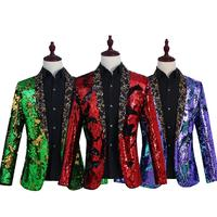 Fashion Shiny Red Sequin Shawl Collar Tuxedo Suit Blazer Men Wedding Groom Singer Prom Glitter Suit Jacket DJ Club Stage Blazers