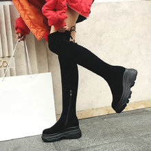 NAYIDUYUN  Stretch Thigh High Creepers Women Cow Suede Wedges Over The Knee Boots Round Toe Sneakers Heel Punk Pumps Shoes