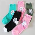 New Cartoon Harajuku Cute Playful Cats Women Socks Spring Autumn High Quality Lovers Breathable Sweat Cotton Socks Free Shipping