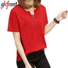 Gkfnmt Summer T Shirt Women 4XL 5XL Fashion V Neck Short Sleeves Tees Shirt Femme T