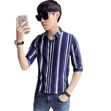 LOLDEAL Summer Thick Striped Shirt Men Half Sleeve Slim Fit Casual Male