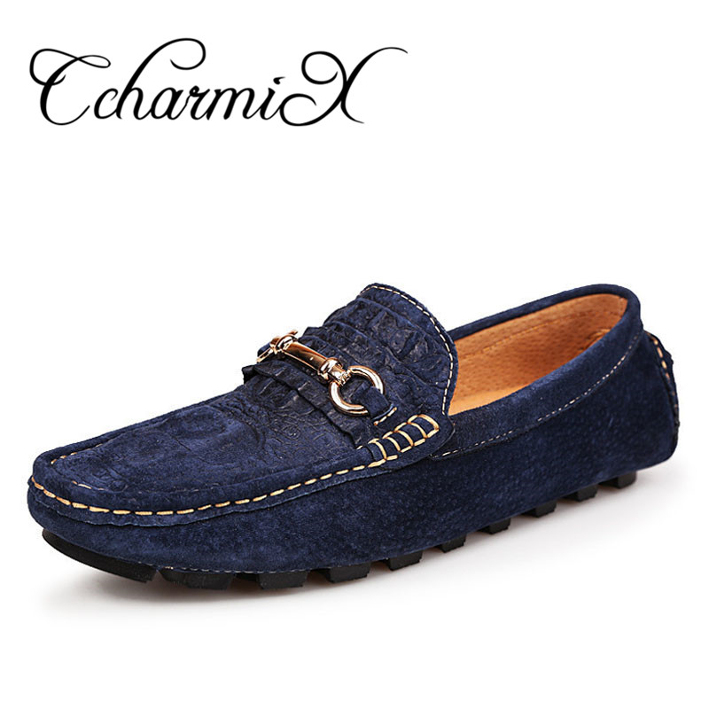 CcharmiX Mens Leather Loafers Fashion Alligator Printed Men Casual Shoes Moccasins Slip On Metal Formal Dress Man Luxury Loafers vesonal 2017 top quality lycra outdoor ultralight slip on loafers men shoes fashion stripe mens shoes casual sd7005