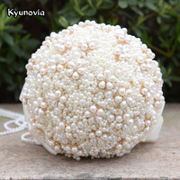 Kyunovia Champagne Pearl Bouquet Wedding Brooch Accessories Ivory Bridal Holding Flowers Beaded Brides Bouquet Wedding FE46