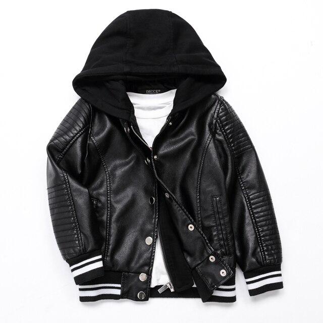 Осенняя Весенняя куртка, кожаная куртка, куртка для мальчиков, детская кожаная куртка, пальто из высококачественной искусственной кожи, стильная облегающая одежда (3-12 лет)