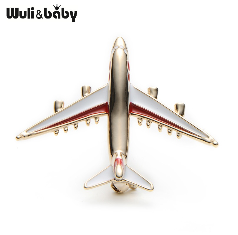 Alloy Airplane Brooch Pin Enamel Red Blue Plane Luxury Brand Brooches - Perhiasan fesyen - Foto 4