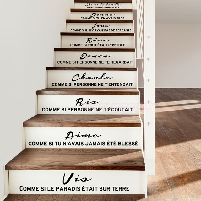 Pegatinas para escaleras Cheris Ta Famille, calcomanías murales de vinilo, arte para sala de estar, decoración del hogar, póster