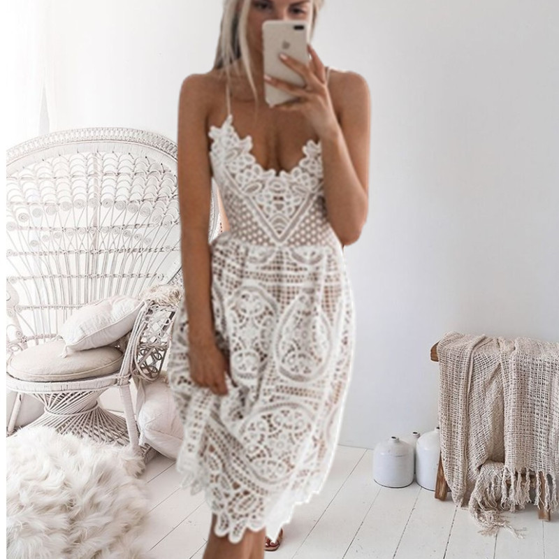 2019 New Beach Long Cover Up White Lace Swimsuit cover up Summer Crochet Beachwear Bathing suit cover ups Beach Dress