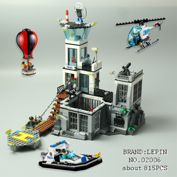 New Lepin 02006 815pcs City Series The Prison Island Set Building Blocks Bricks Educational Toys for children Gift brinquedos  lis lepin 02006 815pcs city series prison island set children educational building blocks bricks boy toys with 60130