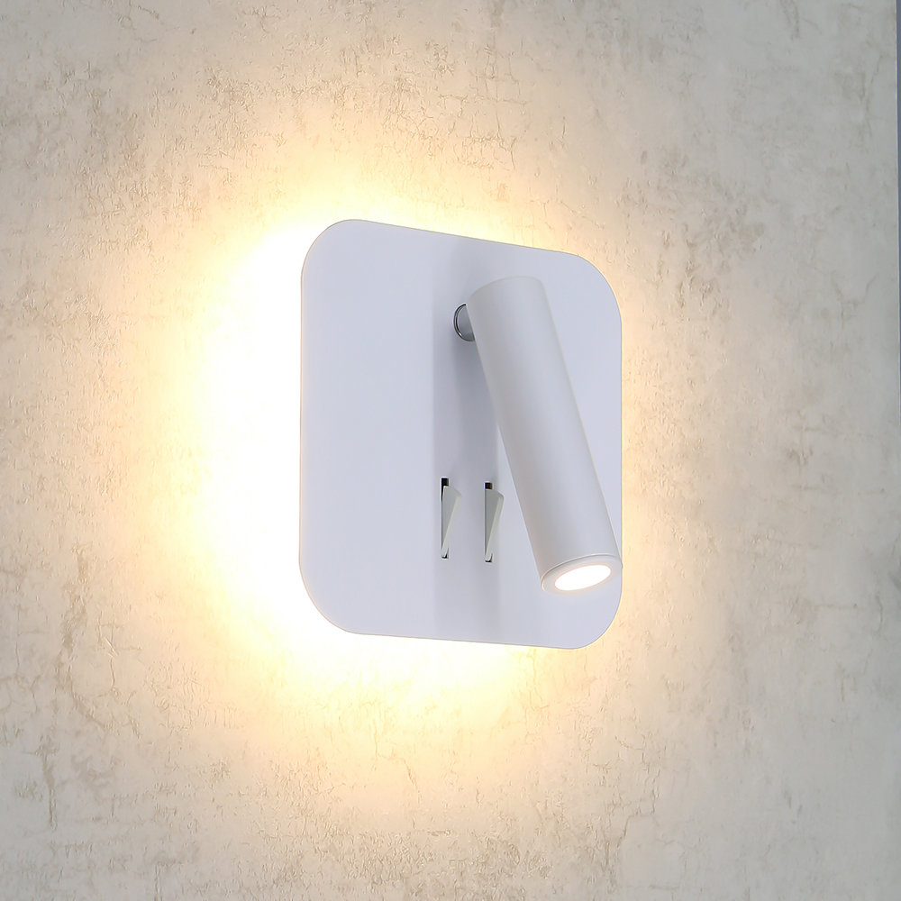 Contemporary Indoor 3W 15W Double Lamp Led Bedroom Bedside Adjustable Wall Lamp Light Fixtures Unique Sconces