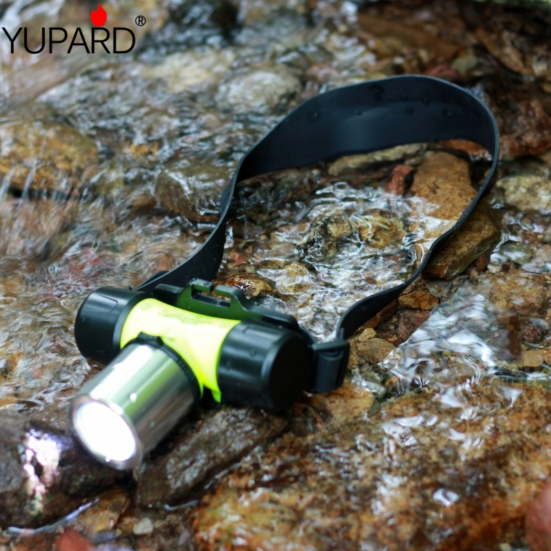 Купить с кэшбэком yupard XM-L2 T6 LED Diver Diving headlamp Flashlight Torch Waterproof swiming headlight 18650 battery AAA white yellow light