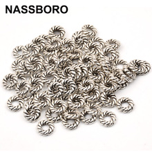 50pcs/lot 2*8mm Antique Silver Charm Beads Flat Round Spacer Metal Beads For Jewelry Making Handmade Craft 3mm hole wholesale