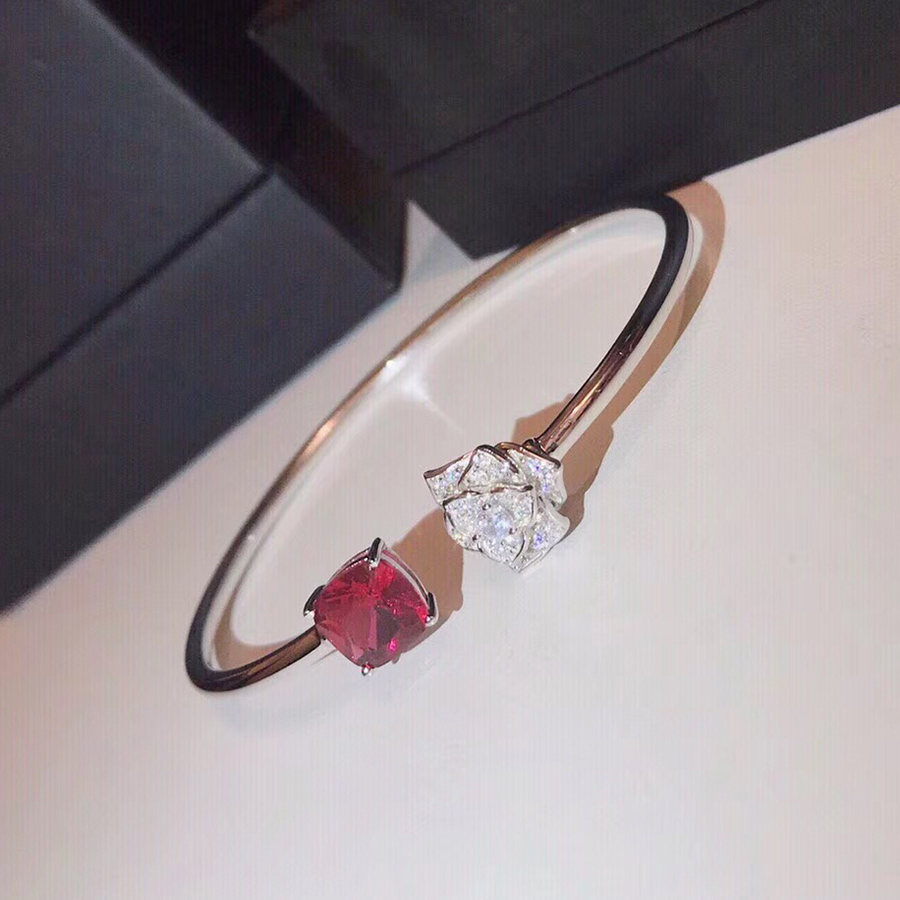 Hot Merk Luxe Pure 925 Sterling Zilveren Sieraden Voor Vrouwen Red Rose Bangle Sieraden Open Size Rose Goud Zilveren Armband-in Armring van Sieraden & accessoires op  Groep 1