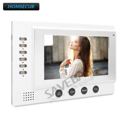HOMSECUR TM701R-W Single Indoor Monitor for New Arrival Wired Video Door Phone Intercom System