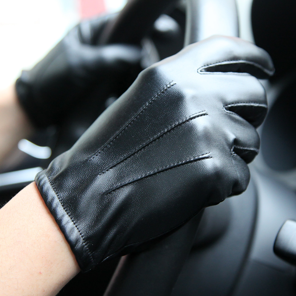 Fashion Black PU Leather Gloves Male Thin Style Driving Leather Men Gloves Non Slip Five Fingers Full Palm Touchscreen PM014PN 9 in Men 39 s Gloves from Apparel Accessories