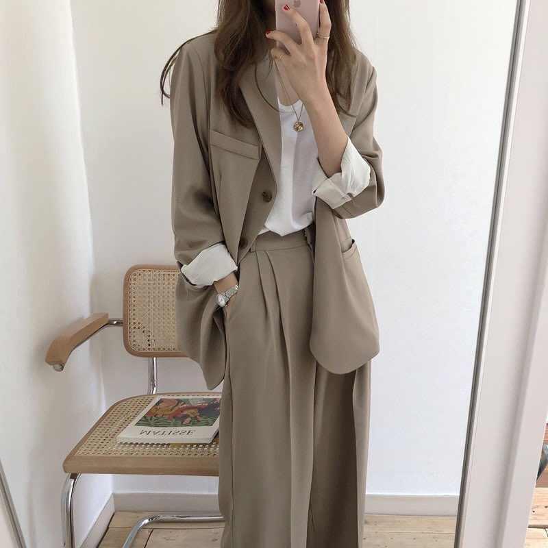 more photos 391fc 9d930 Frauen Weibliche 2019 Frühling Herbst Damen Solide Vintage Einreiher Büro  Langarm Lose Anzug Mantel Jacke