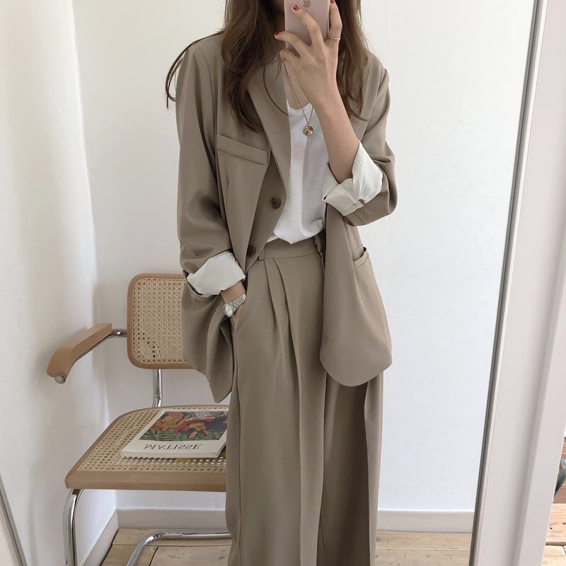 Women  Female 2019 Spring Autumn Ladies Solid  Vintage Single Breasted Office Long Sleeve Loose Suit Coat Jacket