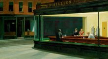 100% handmade Professional artist made high quality Oil Painting Reproduction on Linen Canvas,Nighthawks,Free DHL