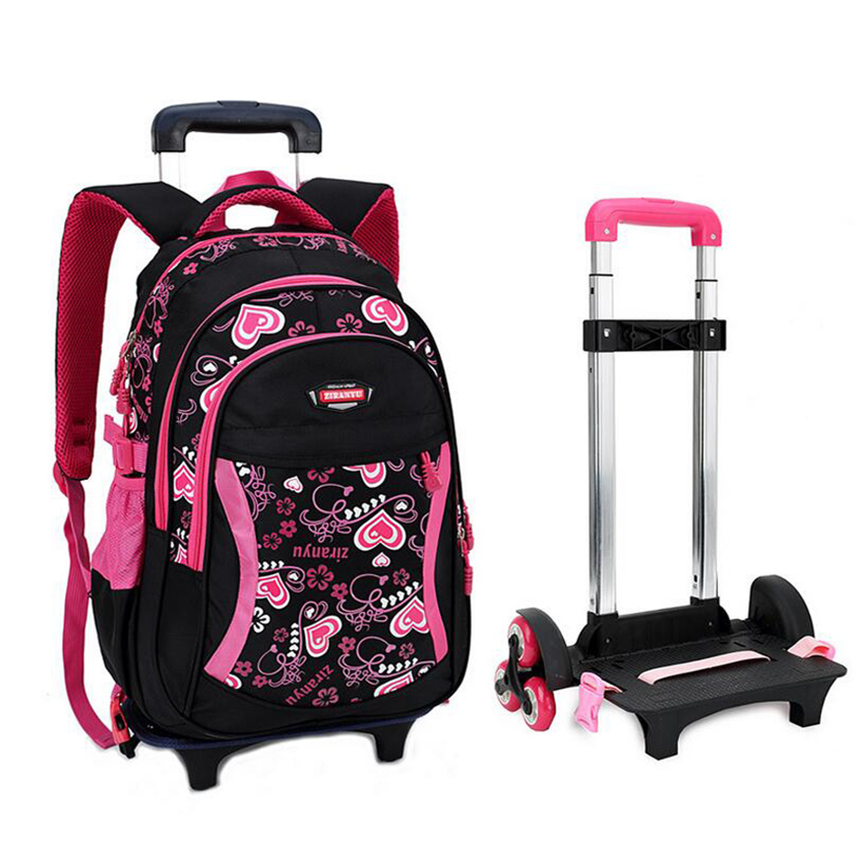 Trolley School Bag for Girls with Three Wheels Backpack Children Travel Bag Rolling Luggage Schoolbag Kids Mochilas Bagpack 9706