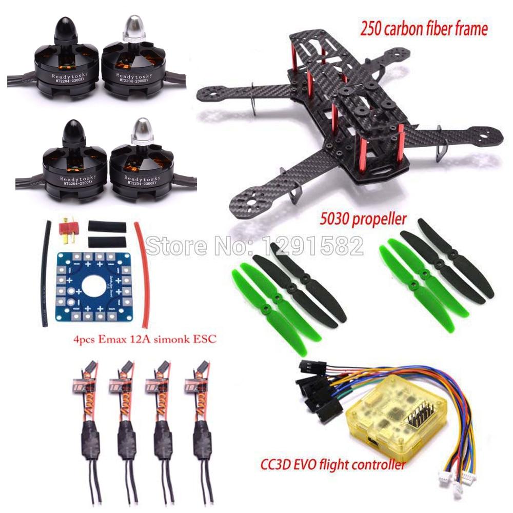 hight resolution of zmr250 250mm carbon fiber frame kit cc3d evo control 2204 2300kv brushless motor 12a simonk esc
