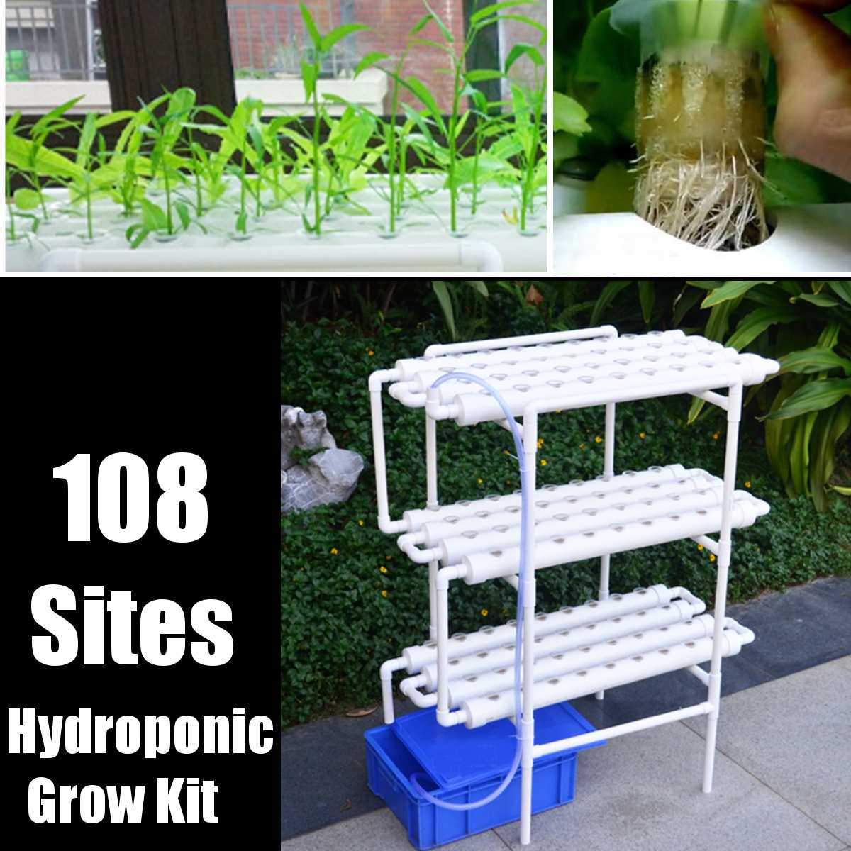 108-Holes Plant-Hydroponic-System Nursery-Pots Grow-Kit Soilless-Cultivation Planting title=
