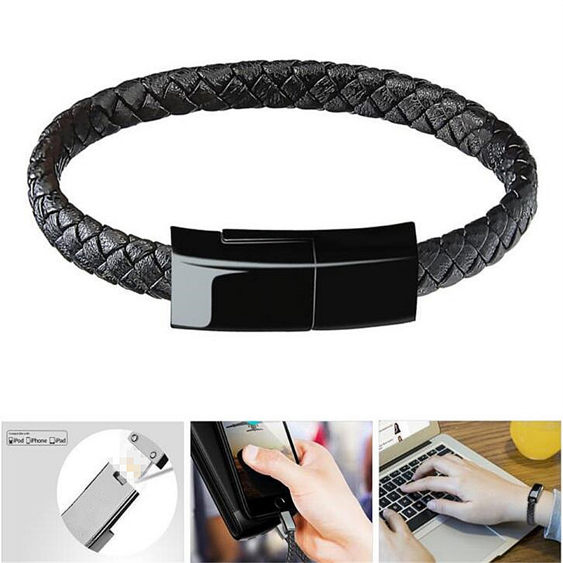 Portable Outdoor Leather Data Charging Cable Wearable USB Cable Charging Bracelet Charge