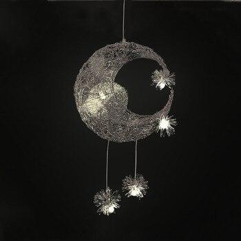 Fancy Kid's Lamp Silver Pendant Light Moon Star Drop Pendant Lamp for Kid's Room Bedroom Night Light LED Pendant Lamp Home Light