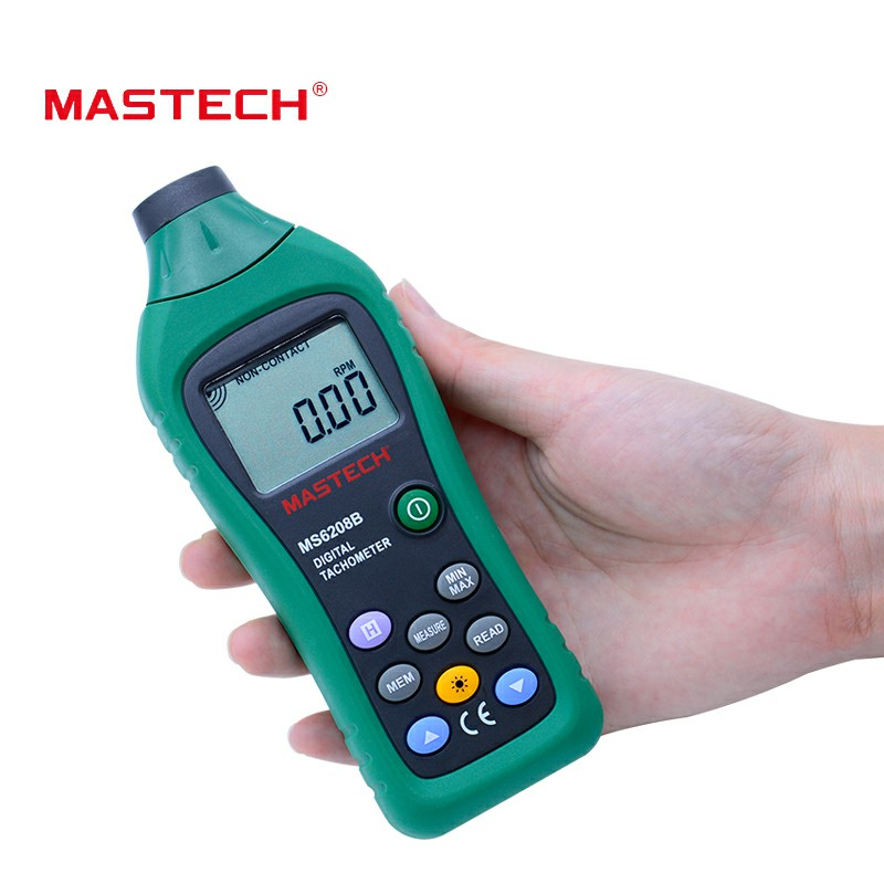MS6208B Digital Tachometer Non-Contact Speed Meter 100-9999.9 resolution 0.1rpm with lcd backlight display mastech ms6208b lcd digital laser photo tachometer rpm meter non contact tacometro rotation speed 50rpm 99999rpm data storage