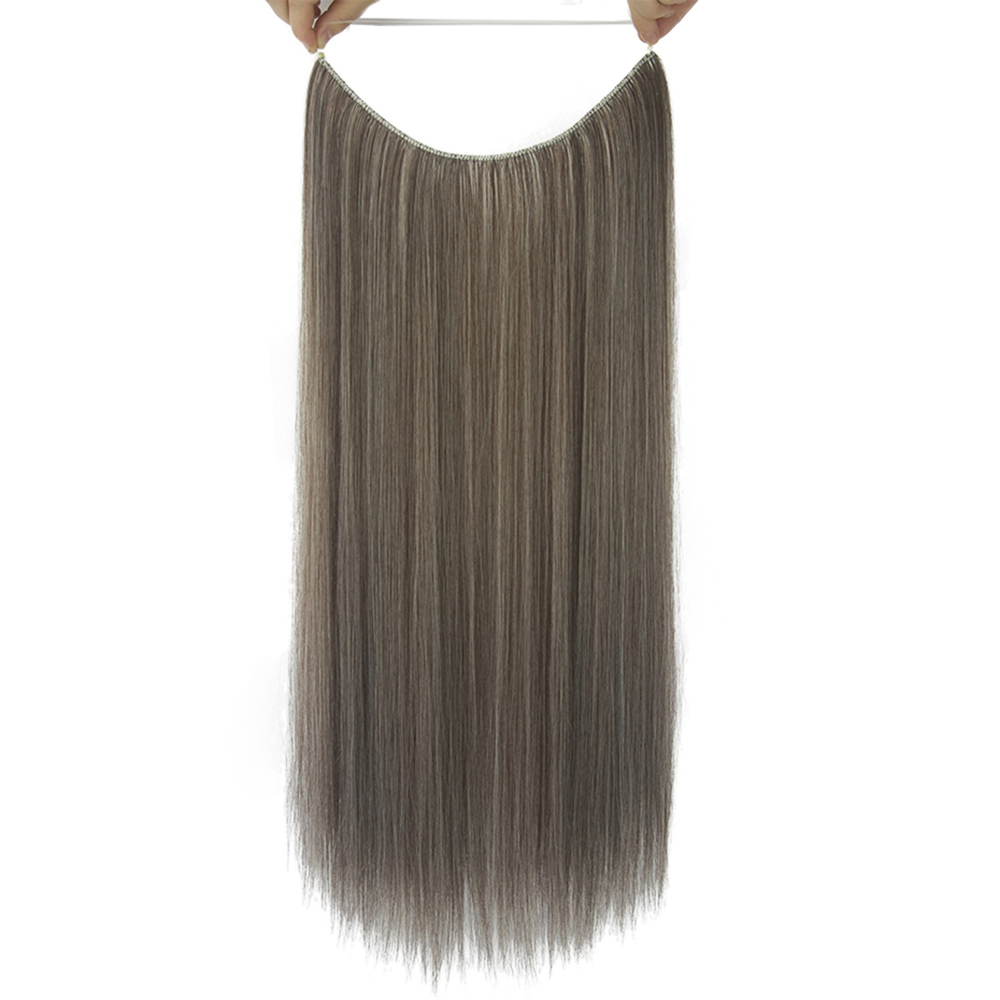 Soowee 10 Colors Long Synthetic Hair Fish Line Halo Invisible Straight Hair Extensions Ash Gray Hairpieces