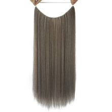 Soowee 10 Colors Long Synthetic Hair Fish Line Halo Invisible Straight Hair Extensions Ash Gray Hairpieces Accessories