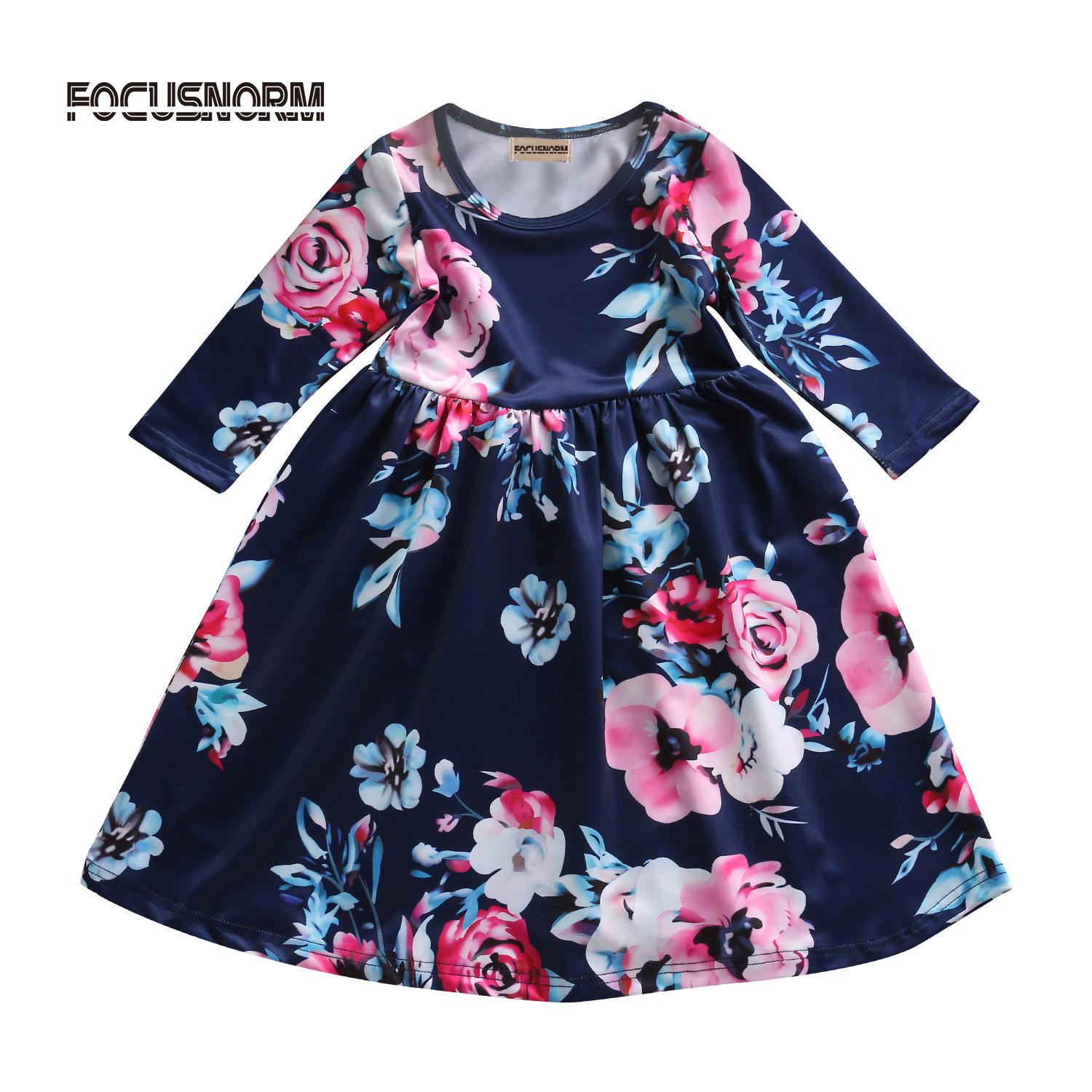 Flower Toddler Kids Princess Dress Kids Baby Girls Long Sleeves Party Pageant Floral Cotton Dress Clothes baby girls printed long sleeves dress girls party princess dress baby kids girls cute loose dress girls clothing 3 7ys
