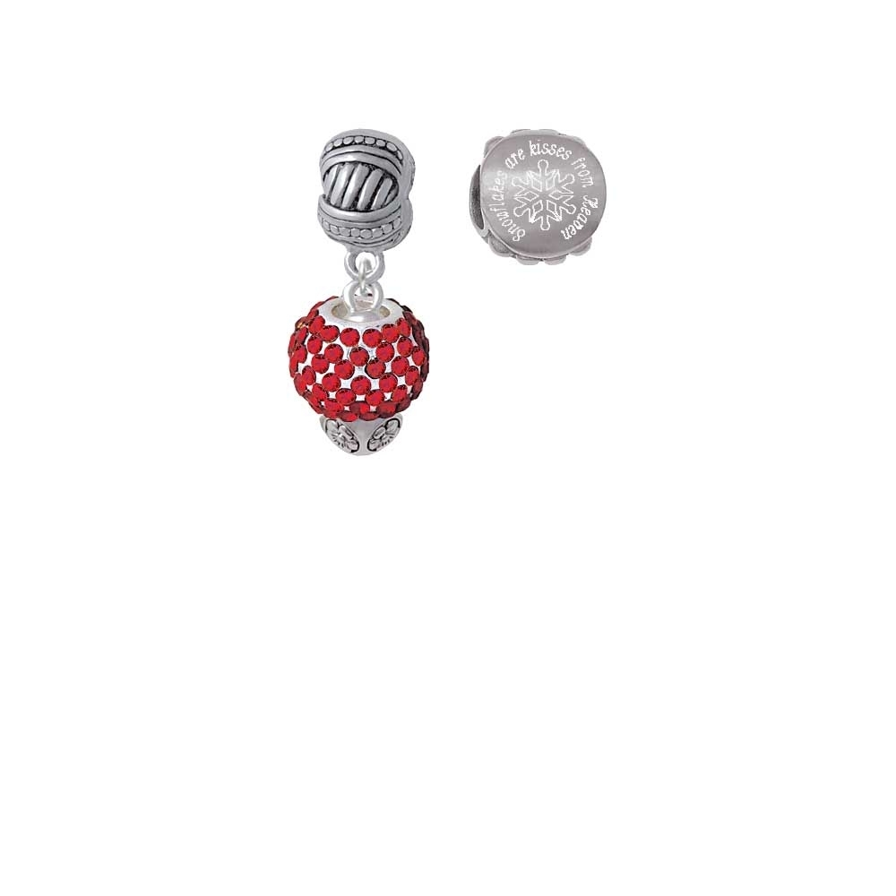 Silvertone Red Crystal Sparkle Spinner Snowflakes are Kisses from Heaven Charm Beads (Set of 2) xmas white tank top 2nd sparkle red birthday number with red snowflakes ruffles